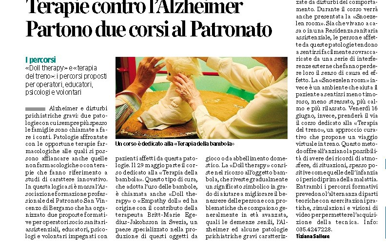 Parlano di noi! La terapia per l'Alzheimer su L'Eco di Bergamo
