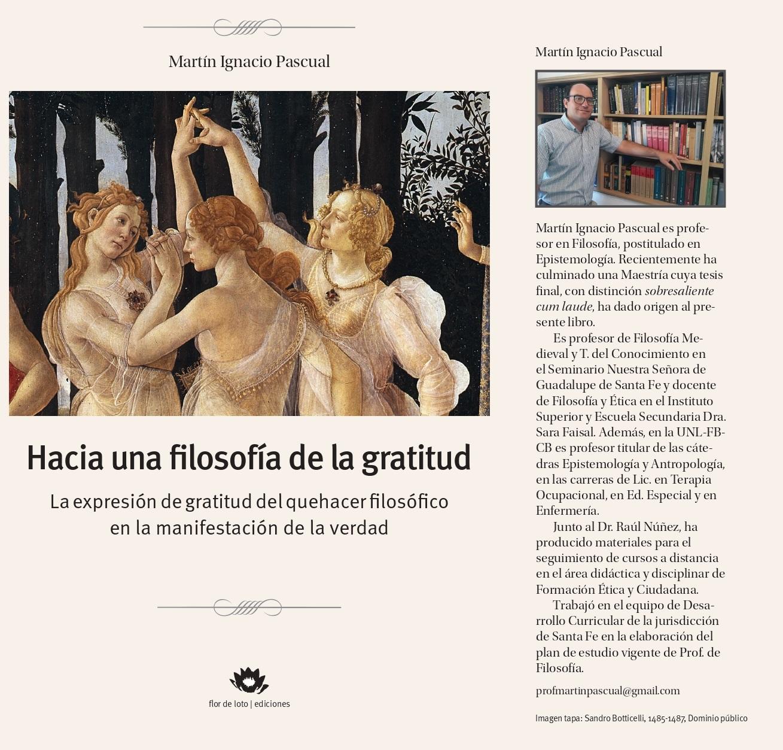 Nuevo material bibliográfico «Hacía una filosofía de la gratitud: la expresión de gratitud del que hacer filosófico en la manifestaciones de la verdad»