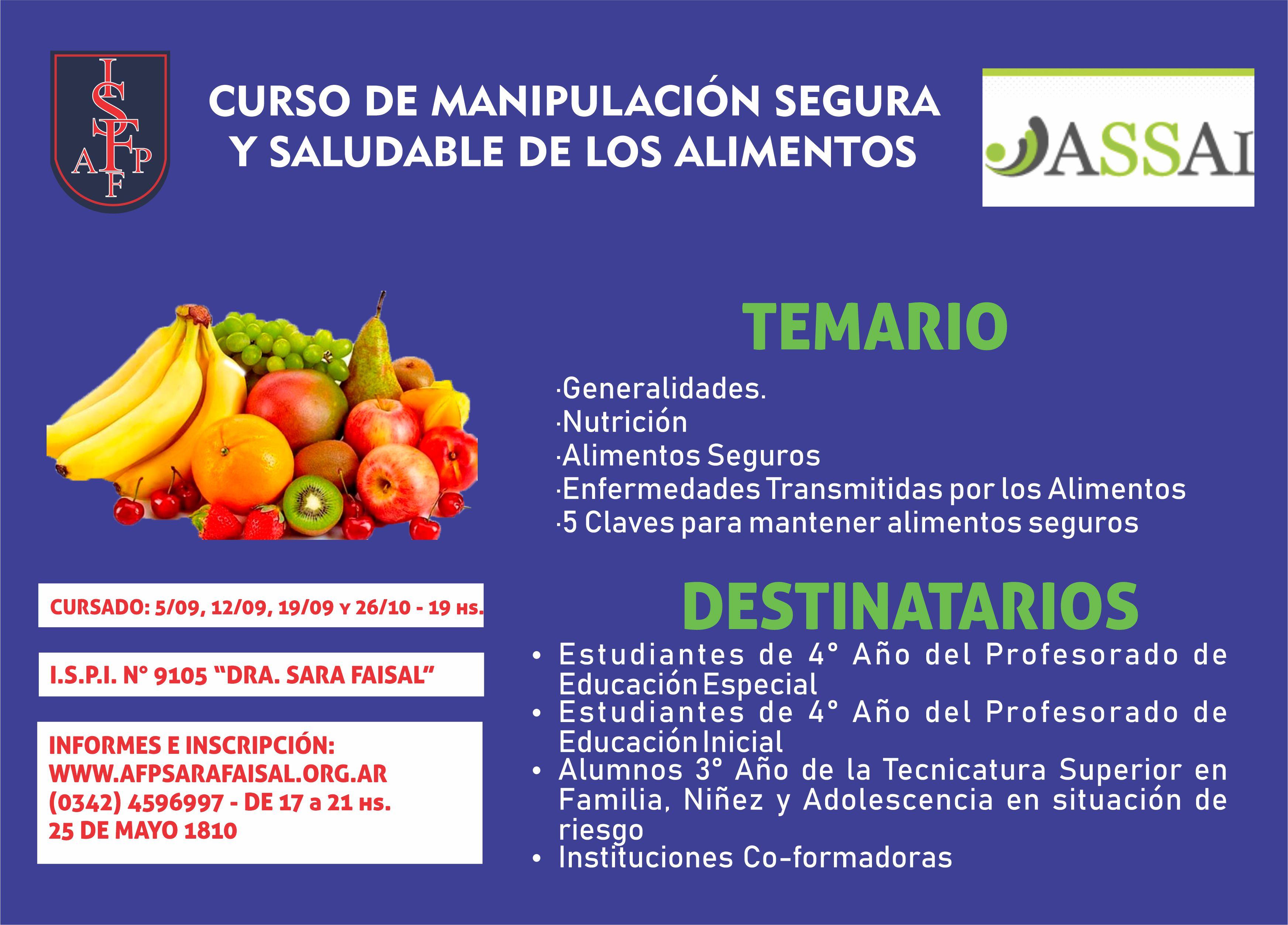 Curso de Manipulación Segura y Saludable de los Alimentos