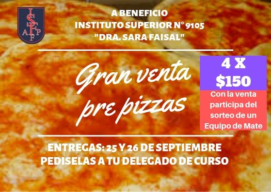 Venta de pre pizzas a beneficio