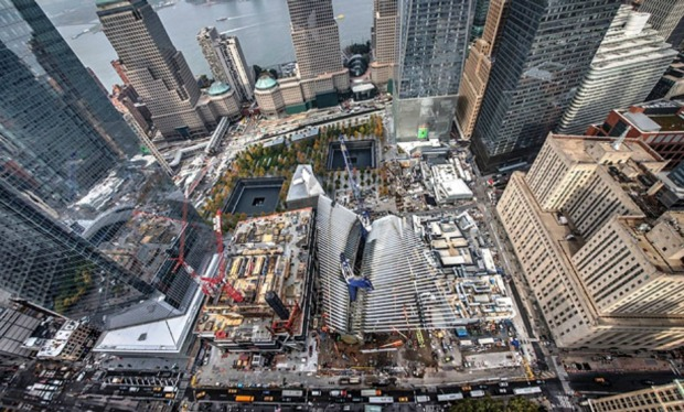 A 2014 aeriel view of construction of the Oculus at the World Trade Centre site in New York.