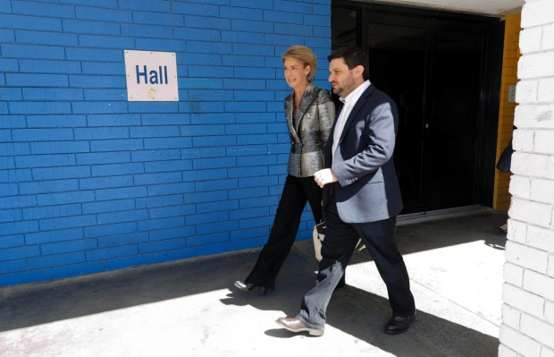 Innovation and Jobs Minister Michaelia Cash with Google's manager of public affairs Jesse Suskin visiting Balga Senior ...