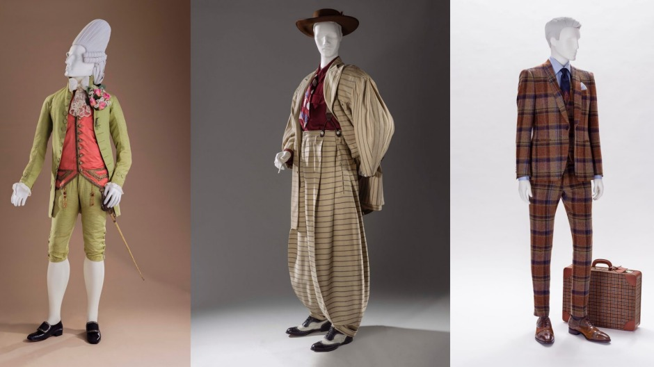Dashing menwear in the exhibition includes, from left: macaroni ensemble (Italy, c.1770); zoot suit (US, 1940-1942); ...