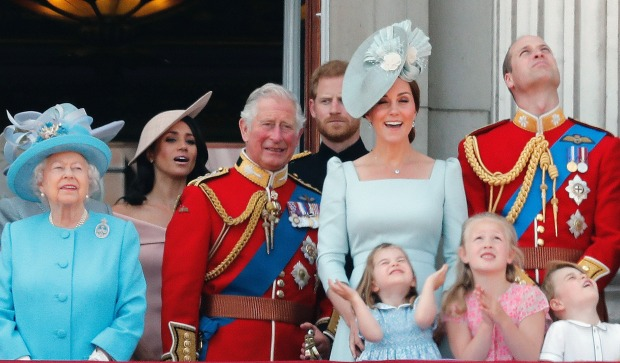 From left, Britain's Queen Elizabeth, Meghan Duchess of Sussex, Prince Charles, Prince Harry, Kate Duchess of Cambridge ...
