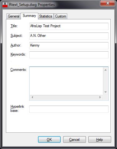 Drawing Properties - Summary tab