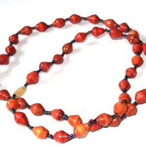 Red Orange Unique Handmade Paperbead recycled Necklace