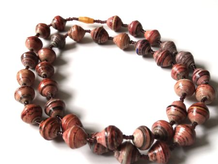 Brown Unique Handmade Paper bead recycled Necklace