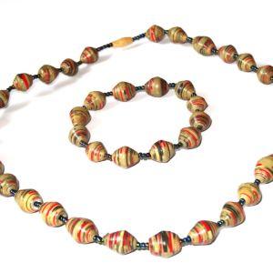 Green Brown Red Striped Necklace Bracelet Set