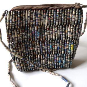 Handmade Grey Black Designer Bead Handbags
