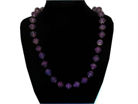 Handmade vintage bead necklace purple