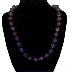 Handmade vintage bead necklace purple