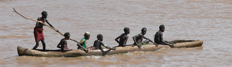 Omo River, southern Ethiopia, site of the oldest known fossil remains  - from 195,000 years ago - of  anatomically modern humans, discovered by Richard Leakey in 1968