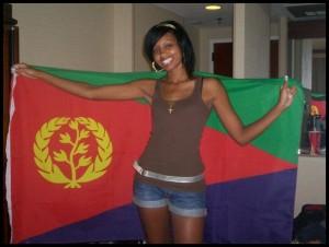 ragazza con bandiera