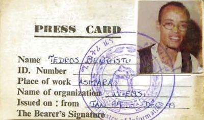 Tedros Menghistu editor of Selam (press card from eritrea)