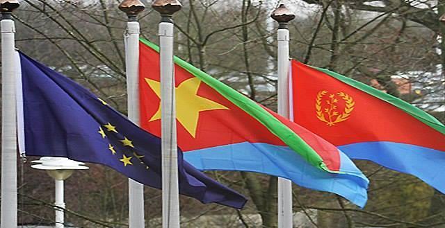 European Union and Eritrean Flags