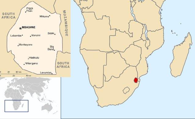 Mappa dello Swaziland