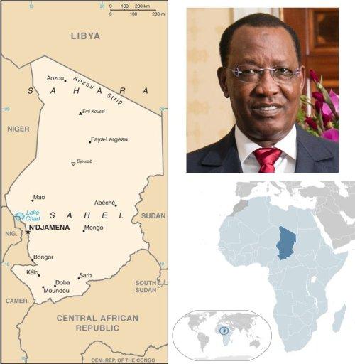 Mappe Ciad e Idriss Déby, per la quinta volta presidente del Ciad