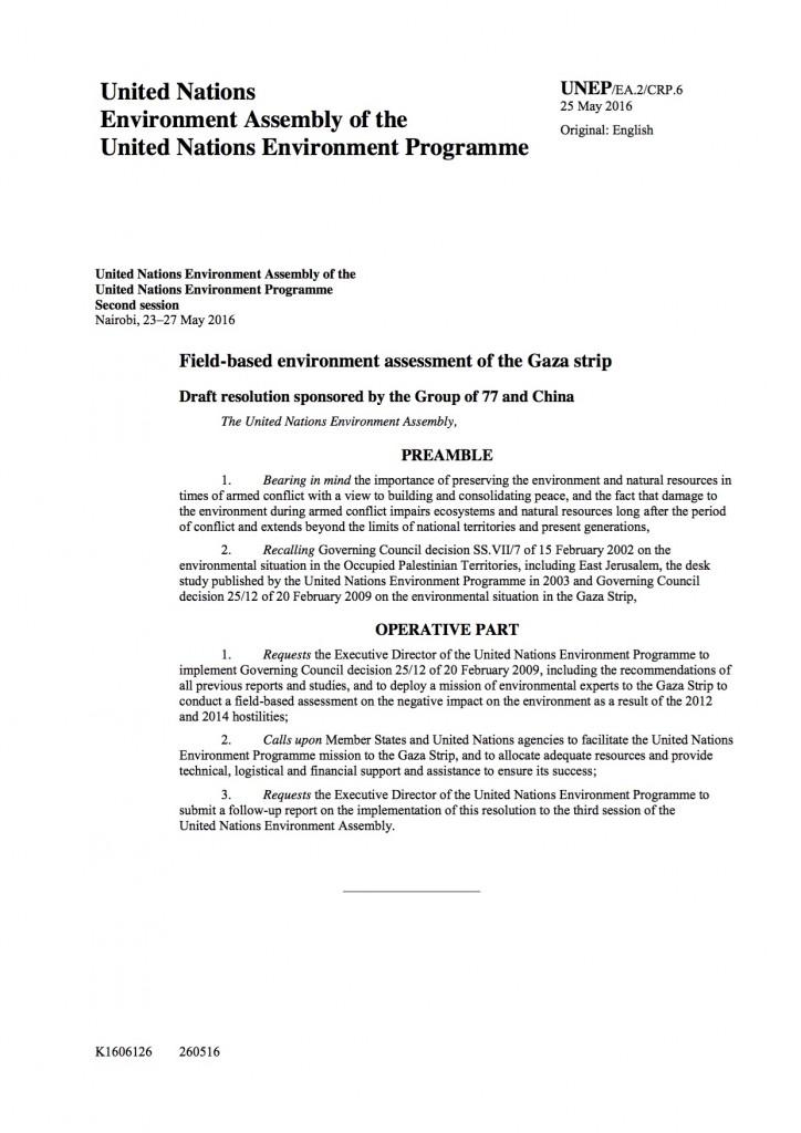 La risoluzione sulla striscia di Gaza che ha bloccato i lavori dell'UNEA per parecchio tempo