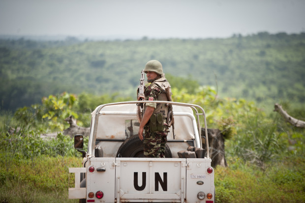 Moroccan peacekeepers serving with the UN Multidimensional Integrated Stabilization Mission in the Central African Republic (MINUSCA) escort a UN delegation in Bambari, 400 km northeast of Bangui, on 20 June 2014. Fighting broke out in CAR when the mainly Muslim Seleka alliance seized power in a coup in March 2013. UN agencies estimate that 2 million people, almost half of the population, are in need of assistance. The Security Council voted on 10 April 2014 to send 12,000 peacekeepers to help return order to CAR. UN Photo/Catianne Tijerina