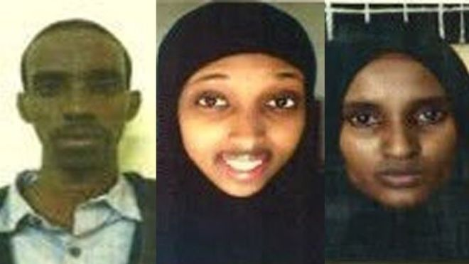Gli arrestati: da sinistra: Mohammed Abdi Ali, Nuseiba Mohammed Haji and Fatuma Mohammed Hashi