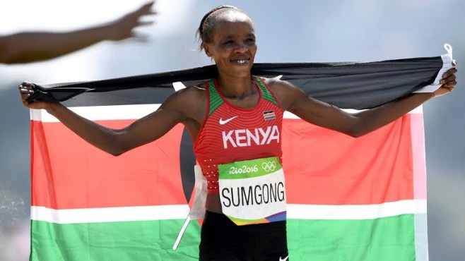 La keniota Jemima Jelagat Sumgong, medaglia d'oro nella maratona femminile