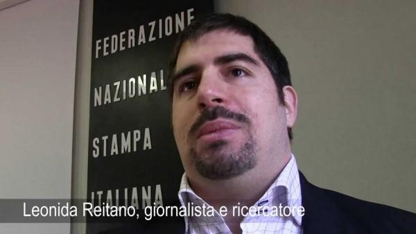 Leonida Reitano davanti alla sede della Federazione Nazionale della Stampa (il sindacato dei giornalisti) dove ha tenuto alcuni corsi sull'utilizzo di fonti di intelligence aperti (OSINT)