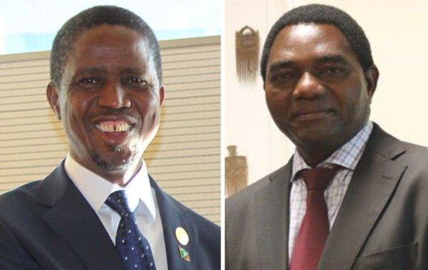 Da sinistra: Edgar Lungu, presidente dello Zambia e Hakainde Hichilema, leader dell' UPND, maggiore partito di opposizione