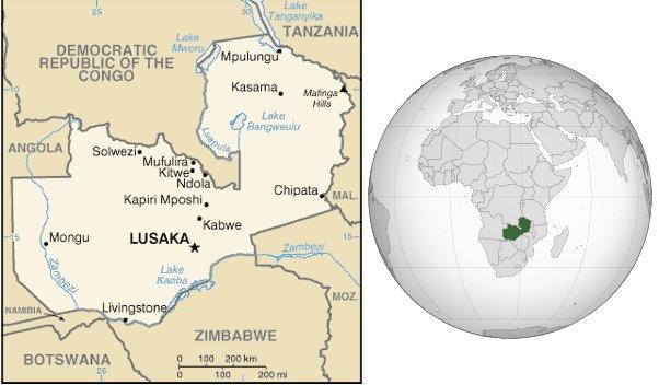 Mappa dello Zambia