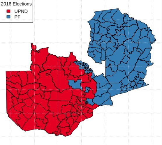 Mappa delle elezioni in Zambia 2016