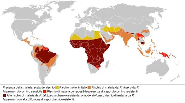 Mappa della malaria nel mondo