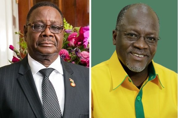 Da sin. Peter Mutharika, presidente del Malawi, e John Magufuli, presidente della Tanzania