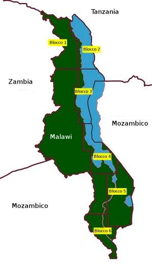 Le sei aree di indagine per la ricerca di idrocarburi del territorio del Malawi e del lago Nyassa