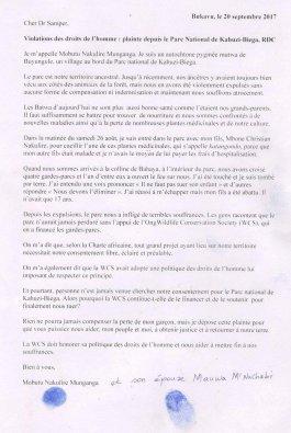 Lettera scritta da Mobutu Nakulire Munganga a Cristián Sampe, presidente WCS e divulgata da Survival International (courtesy © Survival International)