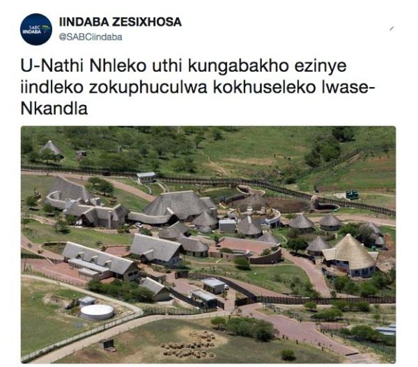 Un tweet che mostra il compound di Jacob Zuma