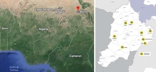 La mappa campi profughi di Borno oggetto del report di Amnesty (courtesy Amnesty International)