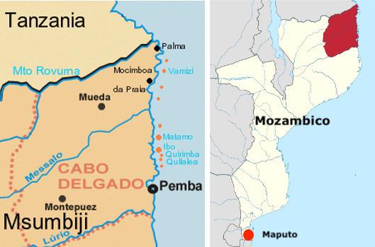 Mappa della provincia di Cabo Delgado e la sua posizione geografica nella mappa del Mozambico