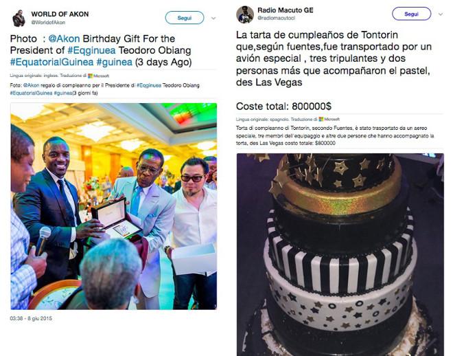 Da sin. tweet di Akon mentre dà l'orologio di diamanti al presidente Obiang e la torta di compleanno di Teodorino Obiang del costo di 800 mila USD