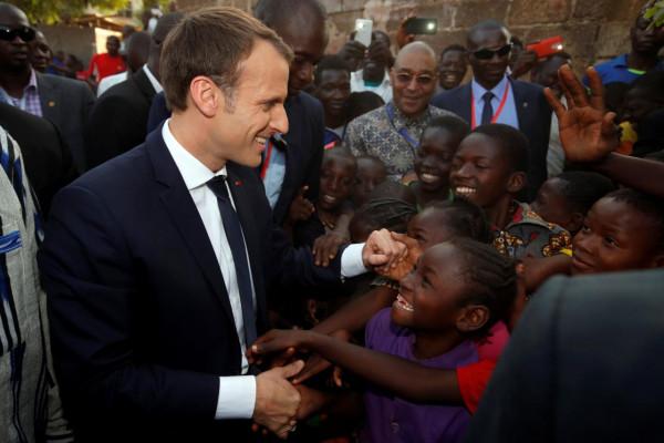 French President Il presidente francese Emmanuel Macron in una recente visita in Burkina Faso,