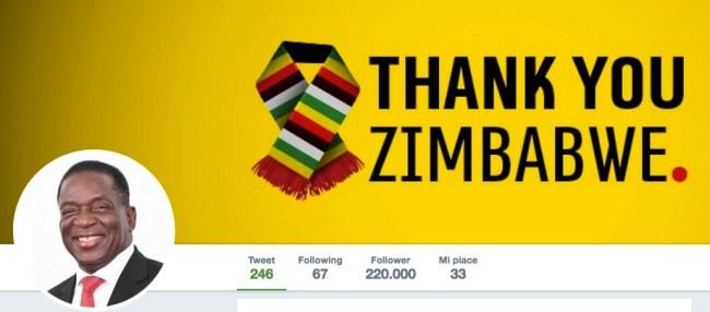 Profilo twitter del presidente Emmerson Mnangagwa: Grazie Zimbabwe