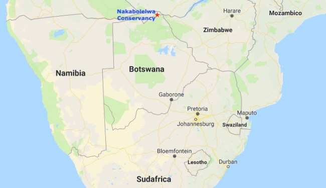 Mappa della Namibia con il Nakabolelwa Conservancy (Courtesy Google Maps)
