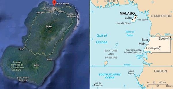 Mappa della Guinea Equatoriale e dell'isola di Bioko con la posizione del carcere Black Beach (Courtesy Google Maps)