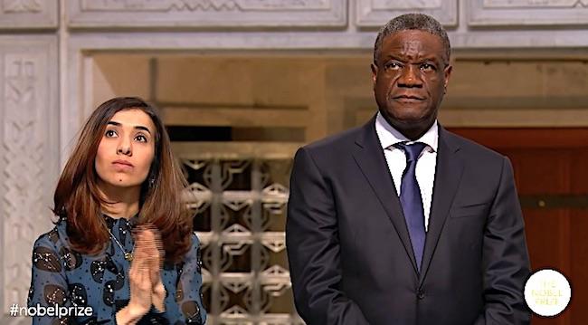 Nadia Murad e Denis Mukwege ai quali è stato assegnato il Premio Nobel per la Pace 2018