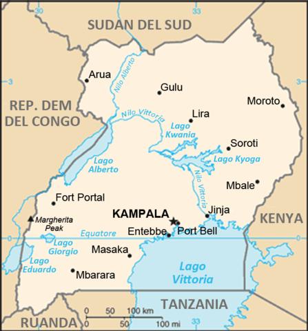 Mappa dell'Uganda