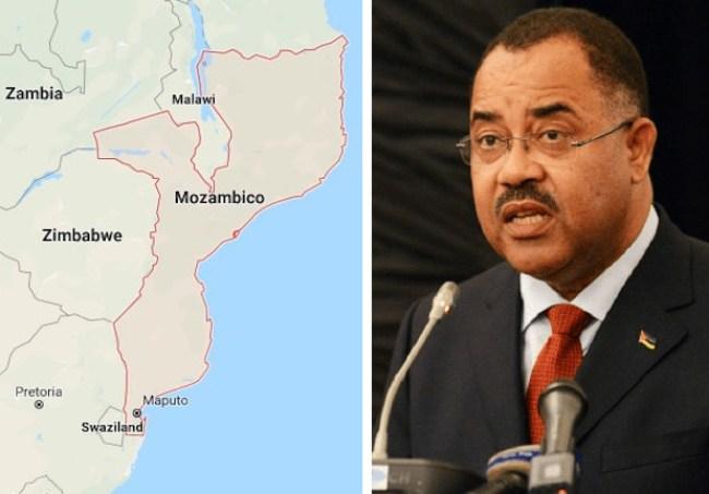 Mappa del Mozambico e l'ex ministro delle Finanze, Manuel Chang