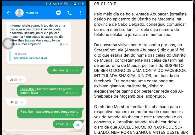 Screenshot e messaggio su Facebook postato da un parente di Amade