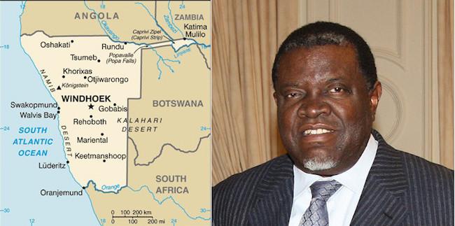 Mappa della Namibia e il presidente della repubblica, Hage_Geingob
