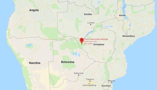 Nella mappa la posizione del Hwange National Park (Courtesy Google Mapa)