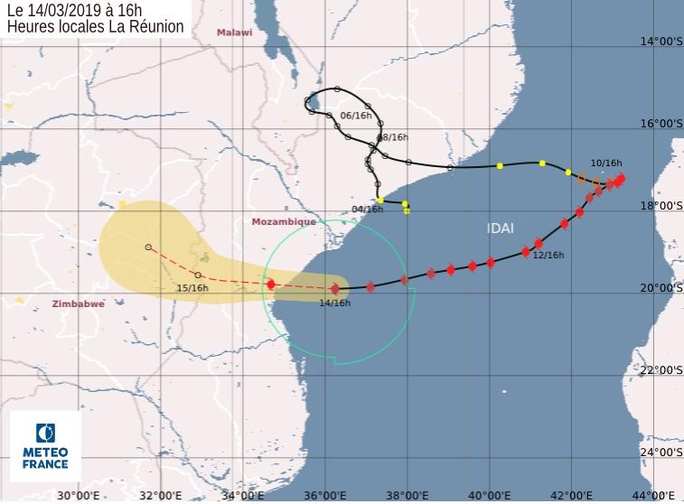 Tragitto del ciclone Idai verso il Mozambico al 14 marzo 2019 (Courtesy Meteo France)
