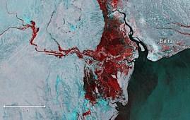 Immagine satellitare dell'alluvione causata dal ciclone Idai (Courtesy ESA)