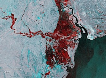 Immagine satellitare dell'alluvione causata dal ciclone Idai (Courtesy ESA)